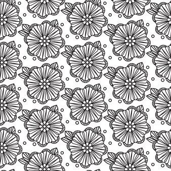 Zentangle sem costura padrão preto e branco