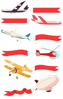 Zepelins e aviões com banners vazios para mensagens publicitárias.