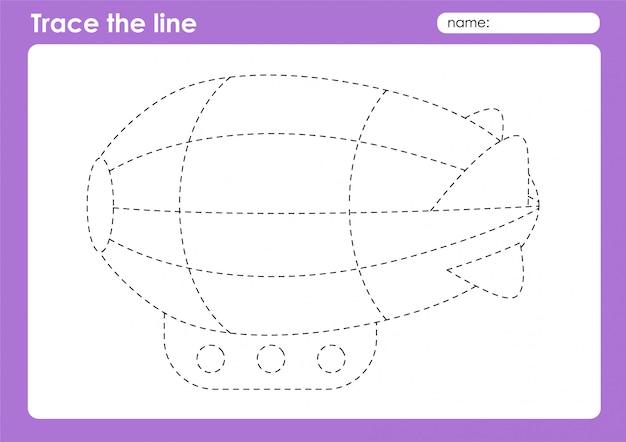 Zeppelin - planilha pré-escolar de linhas de rastreamento de transporte para crianças
