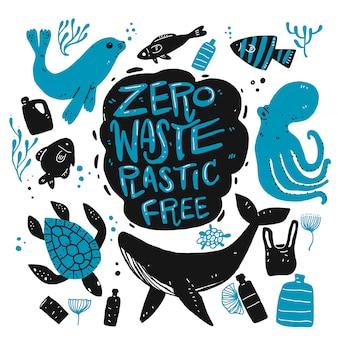 Zero desperdício plástico livre