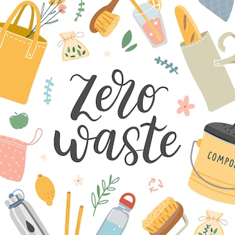 Zero resíduos banner com letras e ilustração