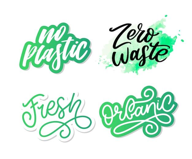 Zero resíduos concepção verde eco ecologia letras de texto