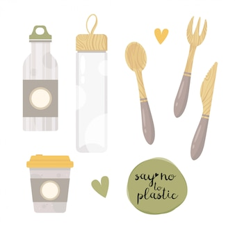 Zero resíduos elementos balão de vácuo, frasco de vidro, cultery.plastic livre. ir verde.