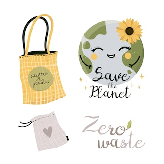 Zero resíduos elementos sacola, saco de eco, eco bag, compras. sem plástico. ir verde.