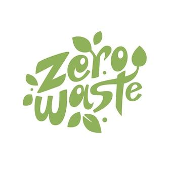 Zero resíduos letras composição com folhas