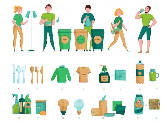 Zero resíduos, protegendo o ambiente, coleta de classificação, escolhendo materiais orgânicos naturais sustentáveis ícones plana conjunto de imagens