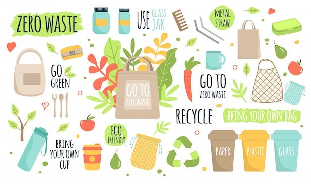 Zero resíduos reciclar ecologia proteção ilustração