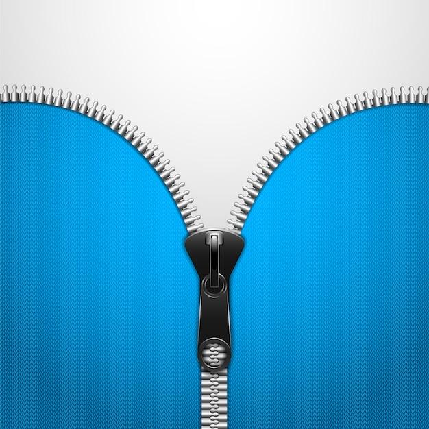 Zip metálico no pano de malha azul