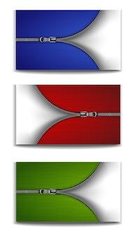 Zip prateado com fundo vermelho, azul e verde.