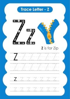 Zip trace linhas de escrita e planilha de prática de desenho para crianças