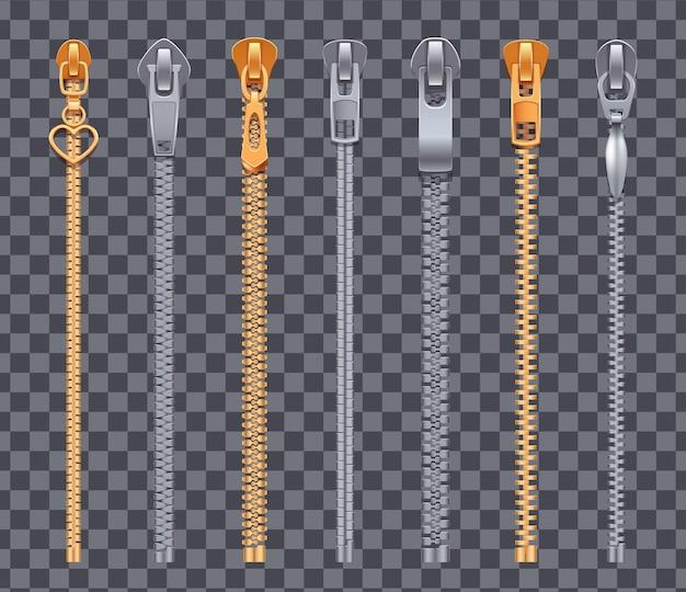 Zíper conjunto realista de fechos de correr prateado e dourado