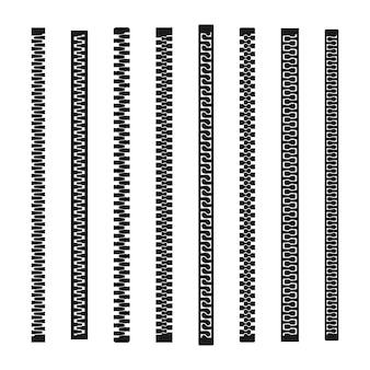 Zíper de abertura e fechamento e seu conjunto de peças de controles deslizantes de diferentes formas.