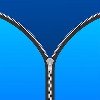 Zíper de acessórios de costura. zíperes e puxadores abertos metálicos. ilustração.