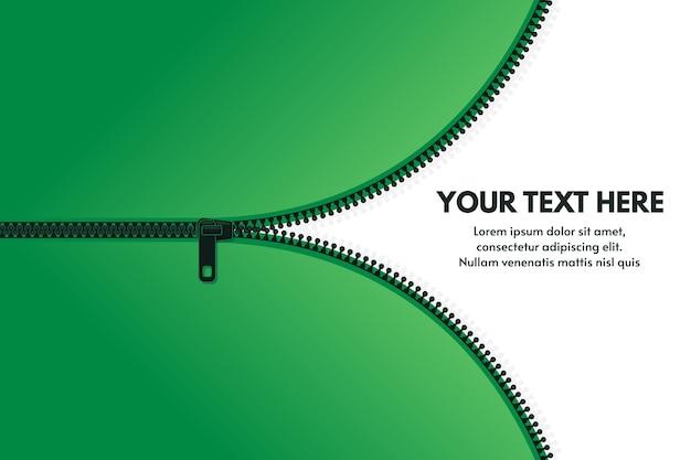 Zíper de fundo zip puxa roupas zip lock acessórios banner com espaço de texto vetor modelo