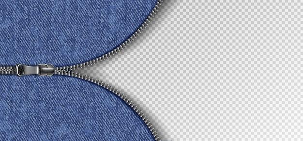 Zíper deslizante com textura de jeans.
