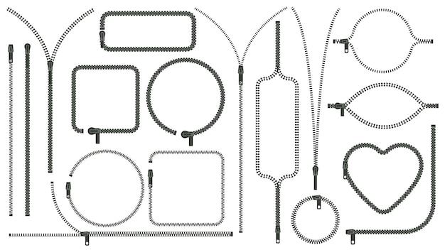 Zíper silhuetas zíper puxar fechado aberto zíper armações de borda roupas zip lock conjunto de vetores