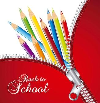 Zíper sobre lápis coloridos de volta à escola