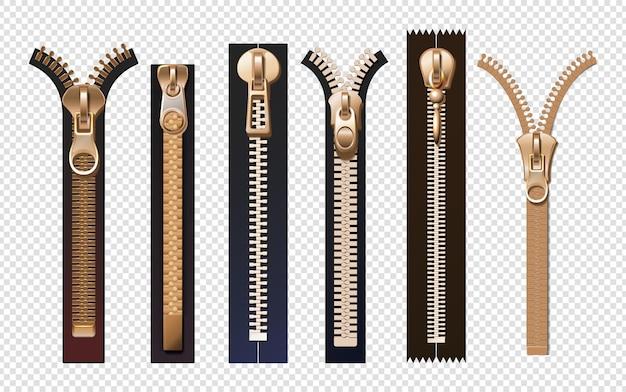 Zíperes dourados. fixadores de metal e plástico com puxadores