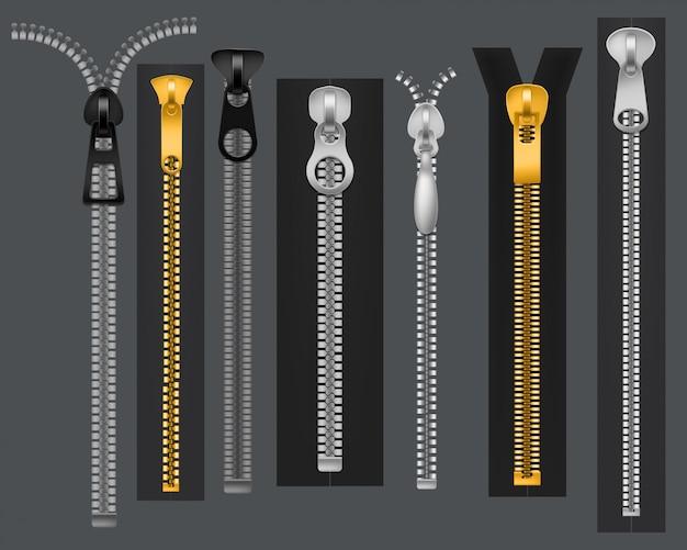 Zíperes. fecho de metal com zíper, conexão de acessórios de tecido. conjunto de zip de roupas da moda