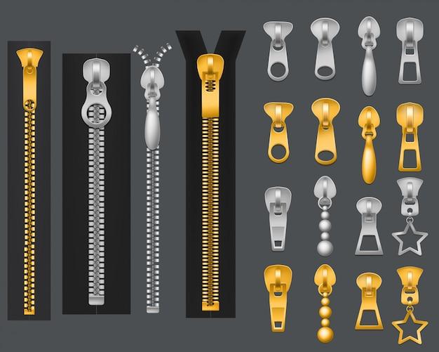 Zíperes metálicos. zíper de prata e ouro realista, puxadores de zíper abertos. componentes de vestuário com fecho de tecido, conjunto