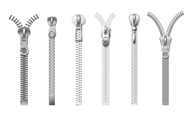 Zíperes prateados. tração de metal realista isolada. fechos de tecido, acessórios para jeans, bolsas, casacos e botas