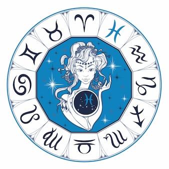Zodiac sign pisces uma linda garota. horóscopo