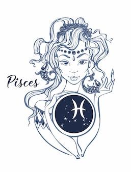 Zodiac sign pisces uma linda garota. horóscopo.