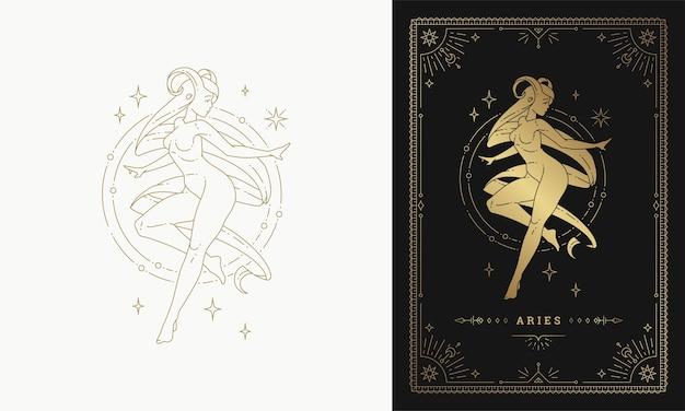 Zodíaco áries menina personagem horóscopo sinal linha arte silhueta desenho ilustração