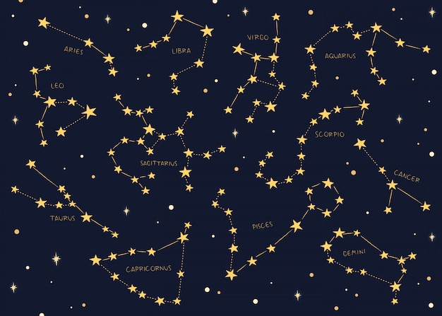 Zodíaco assina constelações de fundo.