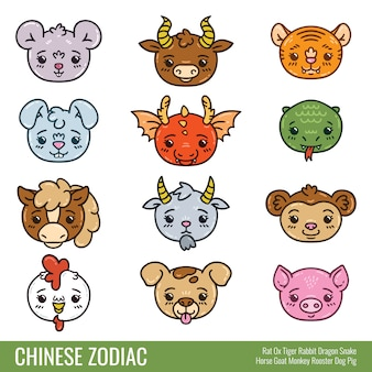 Zodíaco chinês bonito.