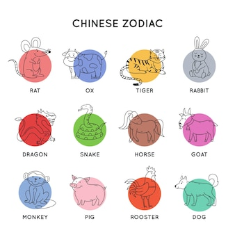 Zodíaco chinês delineando animais no leste do ano novo