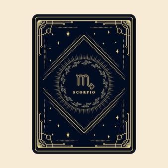 Zodíaco escorpião assina cartões de horóscopo, constelação de estrelas, cartão decorativo com moldura decorativa