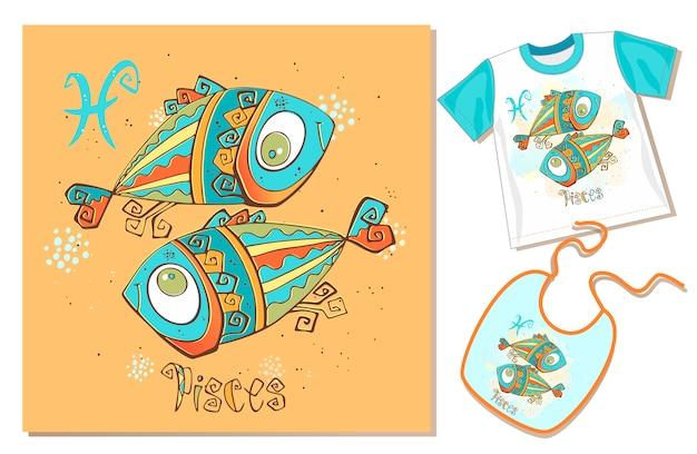 Zodíaco infantil. peixes. exemplos de aplicação em t-shirt e babador.