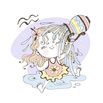 Zodíaco infantil. signo de aquário. a doce menina está encharcada de água.