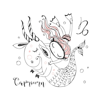 Zodíaco infantil. signo de capricórnio. uma garota nada com um fabuloso capricórnio.