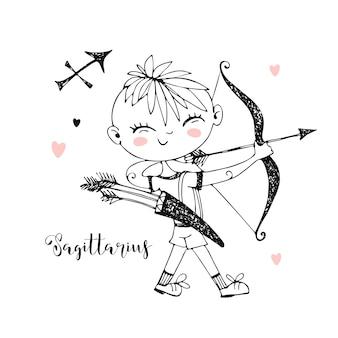 Zodíaco infantil. signo de sagitário. rapaz com um arco. preto e branco