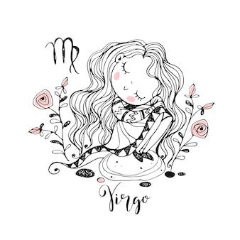 Zodíaco infantil. signo de virgem. linda garota, sentado em uma pedra. preto branco