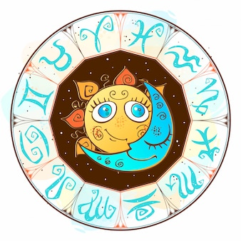 Zodíaco. símbolo astrológico horóscopo. o sol e a lua.