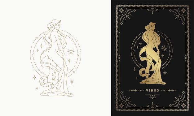 Zodíaco virgem menina personagem horóscopo sinal linha arte silhueta desenho ilustração