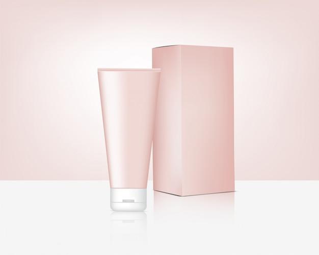 Zombar de tubo realista realista rose gold cosmetic e caixa para ilustração de fundo de produto de pele. cuidados de saúde e design de conceito médico.