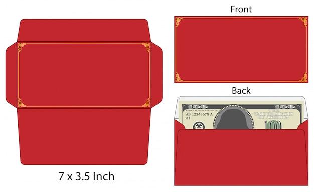 Zombaria cortada do envelope do estilo chinês acima da ilustração do vetor do molde.