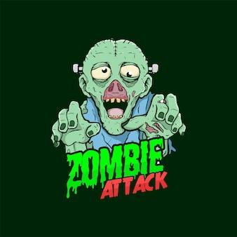 Zombie attack ilustração horror design poster camiseta