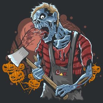 Zombie com machado na arte finala da partidura da noite de halloween