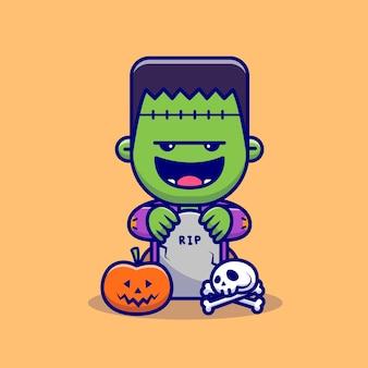 Zombie fofo com lápides, crânios e abóbora de halloween