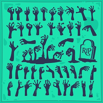 Zombie hand halloween party silhouette ilustração