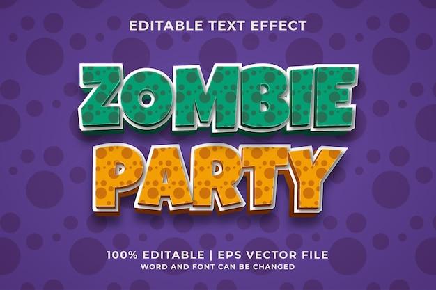 Zombie party editável efeito de texto 3d modelo de estilo premium vector