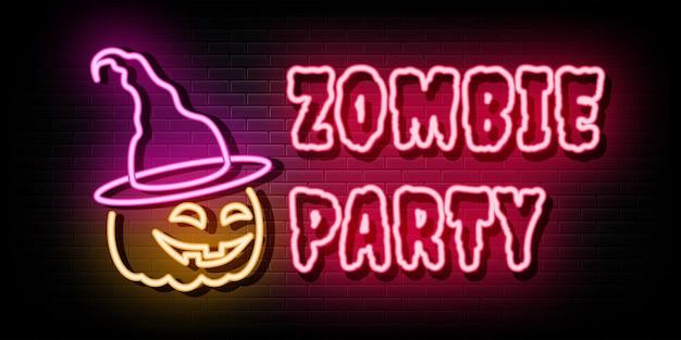 Zombie party sinais de néon modelo de design de vetor estilo néon