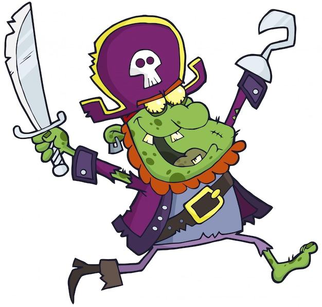 Zombie pirata com uma corrida de espada