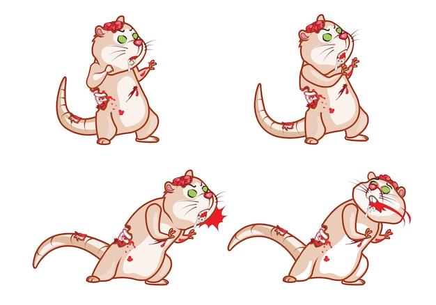 Zombie rat attack cartoon game animação de personagens sprite