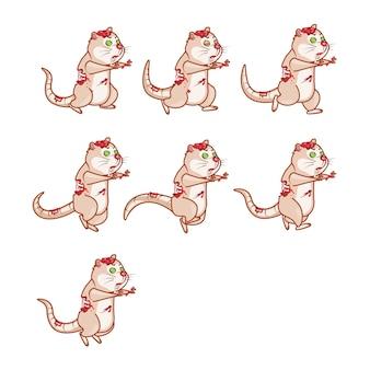 Zombie rat running cartoon game animação de personagens sprite